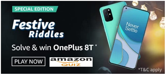Amazon Special Edition Festive Riddles Answers Win Oneplus 8t